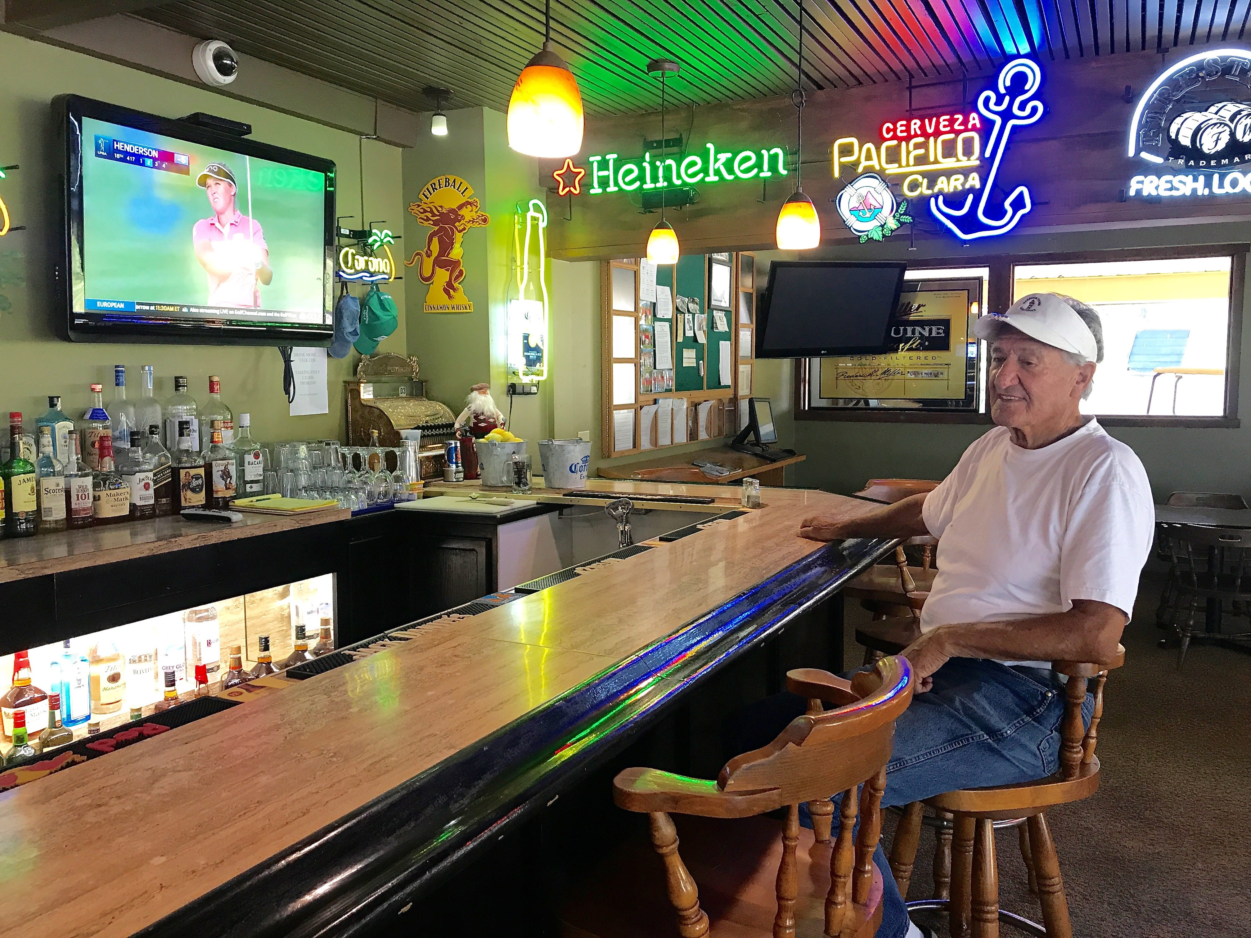 Ralph Corona, former superintendent at the Mountain View Golf Course in Santa Paula, sits at the facility's bar. Even though he's no longer paid to work at the course, he said he comes in voluntarily to help keep up the grounds.