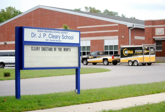 Dr. J.P. Cleary Elementary School has been closed due to air-quality issues. A service truck belonging to a company that handles mold remediation is seen in the school parking lot on Monday, September 17.