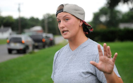 Diamond Diffenderfer speaks about the bus stop at the Brewster and Oak roads intersection in Vineland on Monday, September 17.