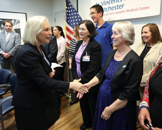 Sen. Kirsten Gillibrand is welcomed to St. Vincent's Hospital Westchester in Harrison Sept. 17, 2018. She was there to push for funding to combat the opioid epidemic and support prescription drug monitoring programs.
