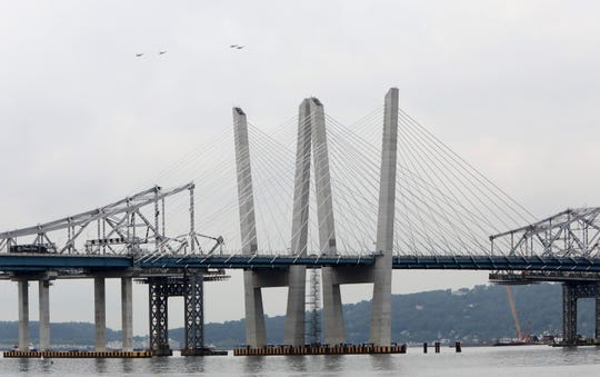 F-16 Fighting Falcons of the Air Force's Thunderbirds fly north over the Mario M. Cuomo and Tappan Zee Bridges near Tarrytown Sept. 17, 2018. Eight F-16 Fighting Falcons flew south over the Hudson River from Stewart Air National Guard Base in Newburgh, circled the Statue of Liberty and returned to Stewart.