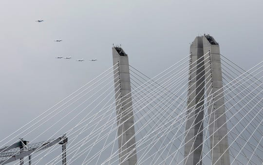 F-16 Fighting Falcons of the Air Force's Thunderbirds fly south over the Mario M. Cuomo and Tappan Zee Bridges near Tarrytown Sept. 17, 2018. Eight F-16 Fighting Falcons flew south over the Hudson River from Stewart Air National Guard Base in Newburgh, circled the Statue of Liberty and returned to Stewart.