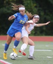 North Rockland's Megan MacMillan (6) tries to steal the ball away from Mahopac's Carly Steinberg (22) during girls soccer game at Mahopac High School on Sept.17, 2018. North Rockland defeats Mahopac 2-0.