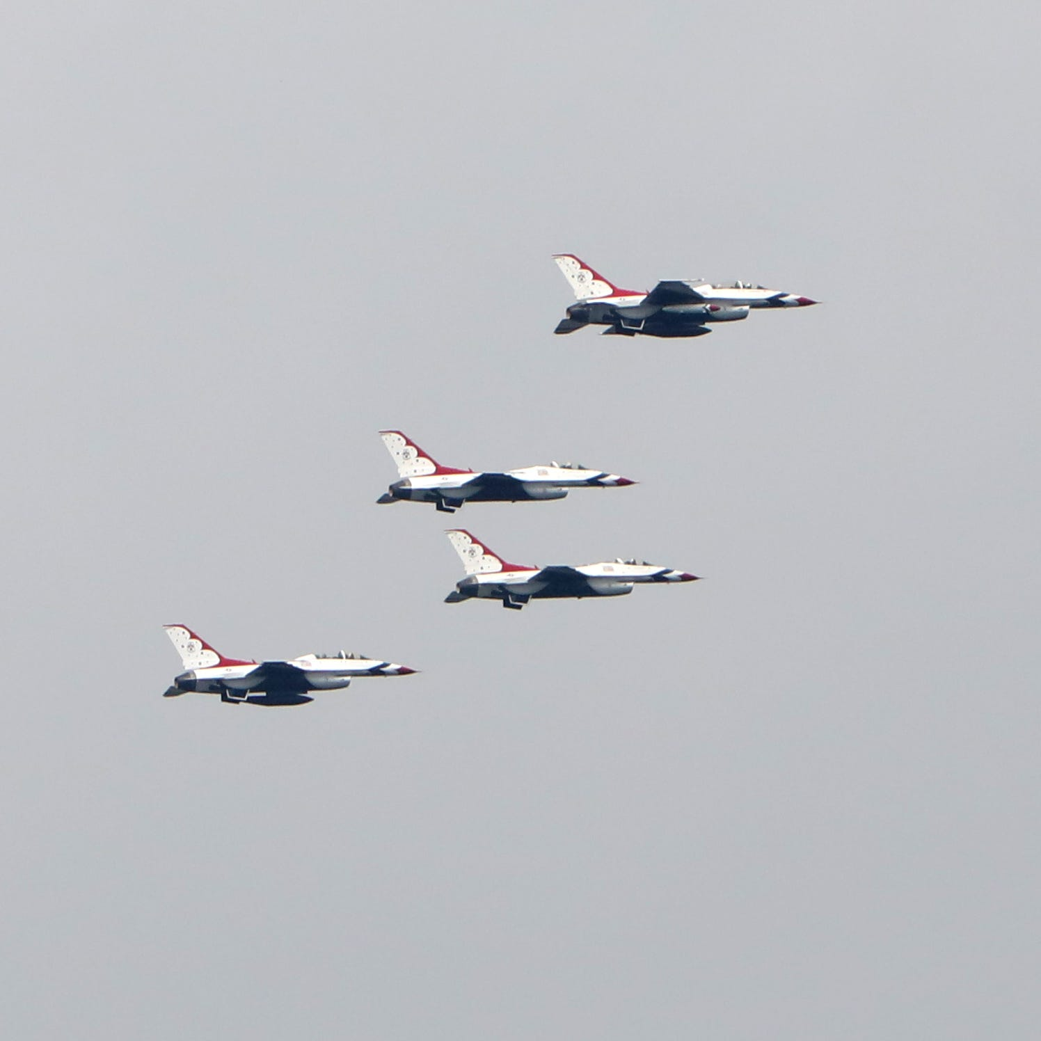 F-16 Fighting Falcons of the Air Force's Thunderbirds fly north over the Hudson River near Tarrytown Sept. 17, 2018. Eight F-16 Fighting Falcons flew south over the Hudson River from Stewart Air National Guard Base in Newburgh, circled the Statue of Liberty and returned to Stewart.