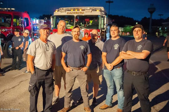 Bridgeville Volunteer Fire Company President Matthew Smith, from left, Dagsboro Volunteer Fire Department Chief John Marvel, Bridgeville Volunteer Fire Company Deputy Chief Buddy Willey, Dagsboro VFD Firefighter Chad Hudson, Bridgeville VFC Firefighter Patrick Haass, and Bridgeville VFC Cpt. Bo Thomas have been helping with the relief and rescue efforts in North Carolina during Hurricane Florence.
