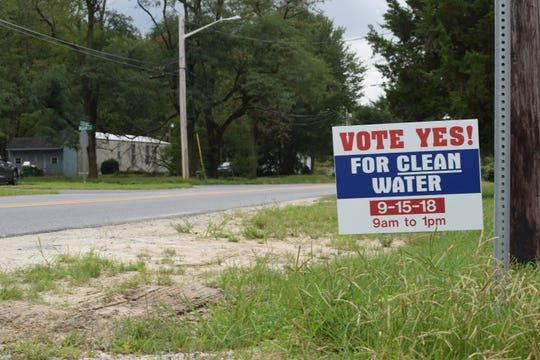 Signs encouraging people to vote for clean water are still scattered around Ellendale. Residents voted on Saturday in favor of a county water district, which will serve about 100 homes, mainly on the outskirts of town.