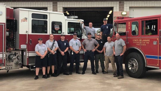 Three members of the Lewes Fire Department have been working with firefighters in Morehead City with the Hurricane Florence rescue and relief effort.