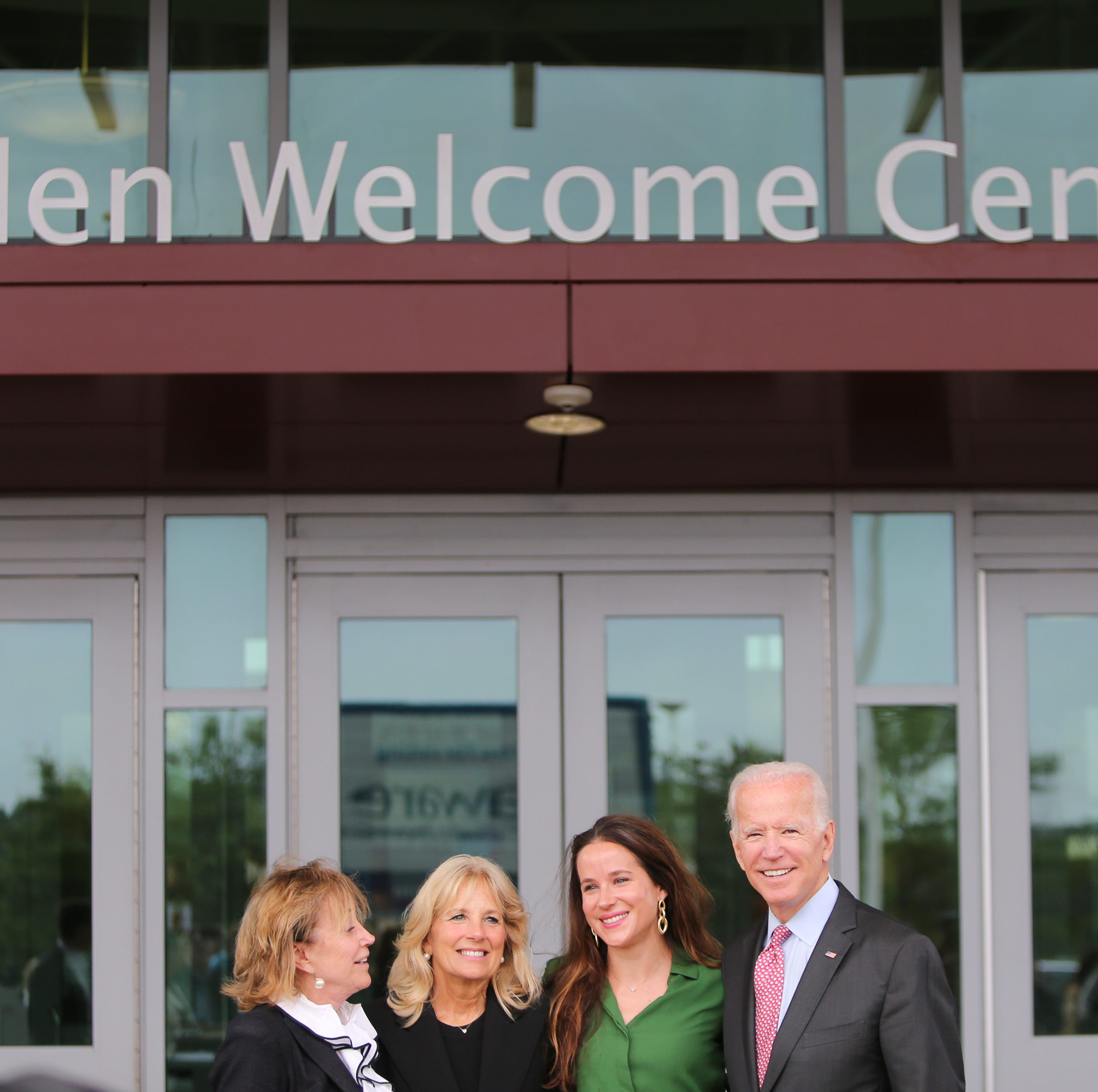 The Biden family stand outside of the newly renamed Biden Welcome Center. The Delaware Welcome Center is renamed the Biden Welcome Center during a ceremony Monday.