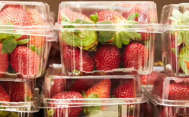 Strawberry cartons are seen at a supermarket in Sydney, New South Wales, Australia, on Sept. 13