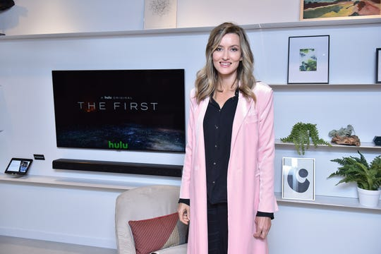 "Natascha McElhone attends Hulu's ""The First"" New York Activation on Sept. 13, 2018 in New York City."