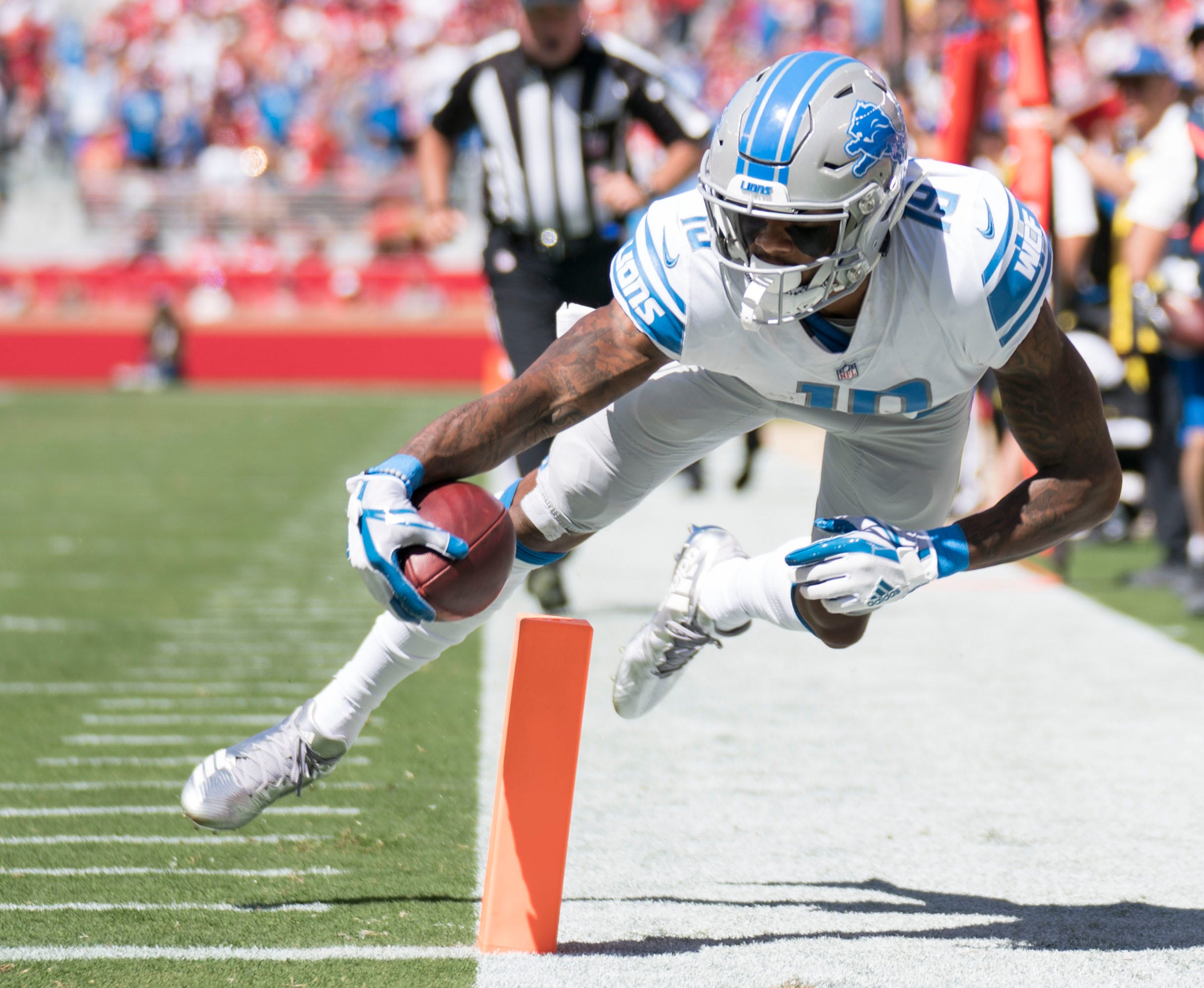Week 2: Detroit Lions wide receiver Kenny Golladay scores a touchdown against the San Francisco 49ers.