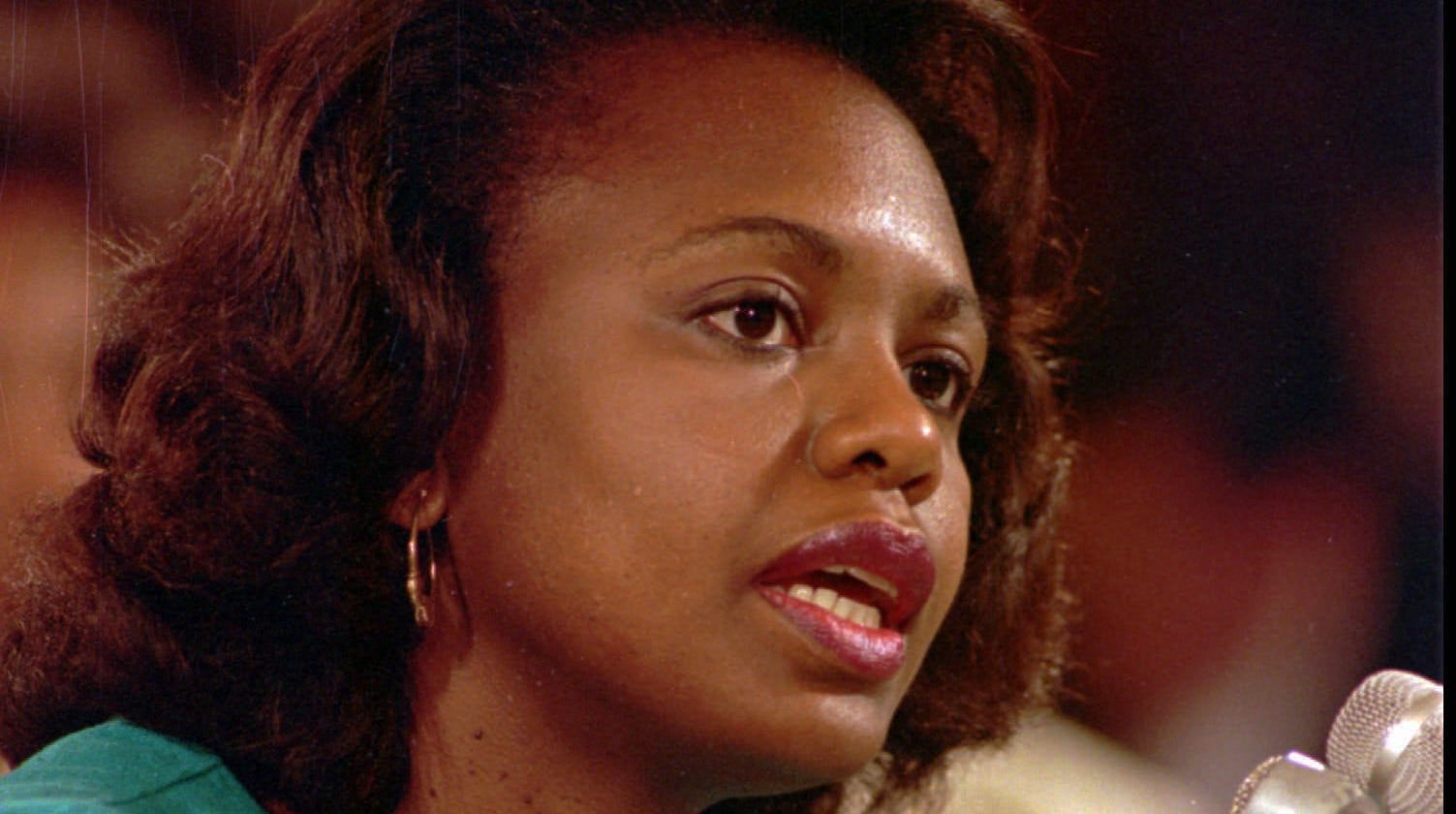 Anita Hill testifies before the Senate Judiciary Committee on Oct. 11, 1991.