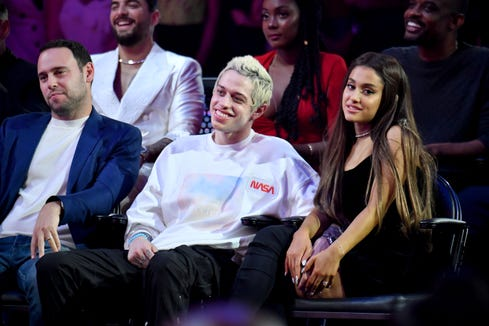 Pete Davidson and Ariana Grande attend the 2018 MTV Video Music Awards at Radio City Music Hall on Aug. 20, 2018, in New York City.