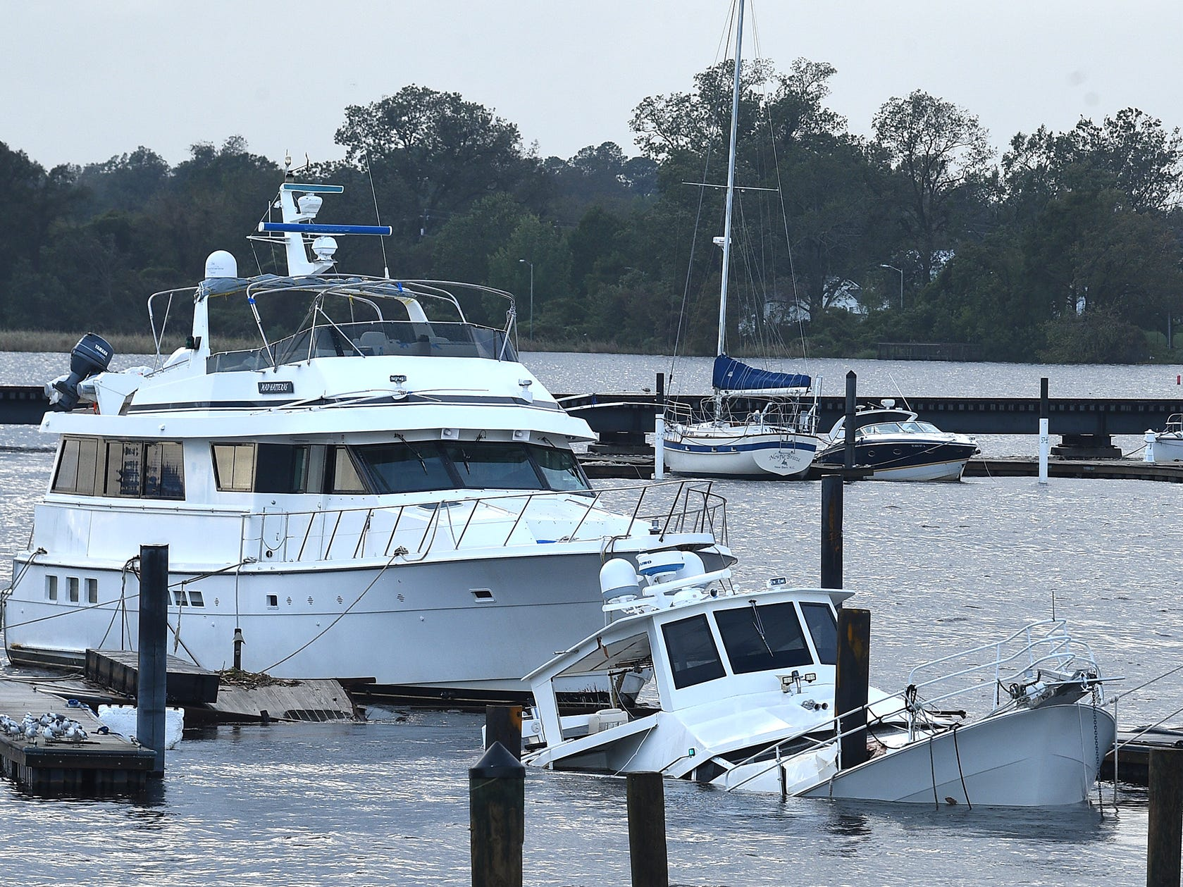 Damaged boats in a marina in New Bern, N.C. on Sept. 16, 2018.