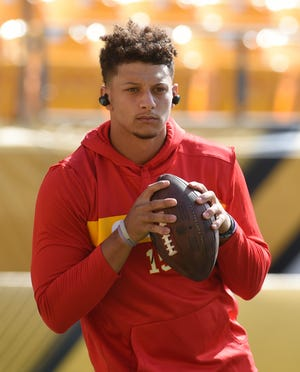 Kansas City Chiefs quarterback Patrick Mahomes (15) before playing the Pittsburgh Steelers at Heinz Field.