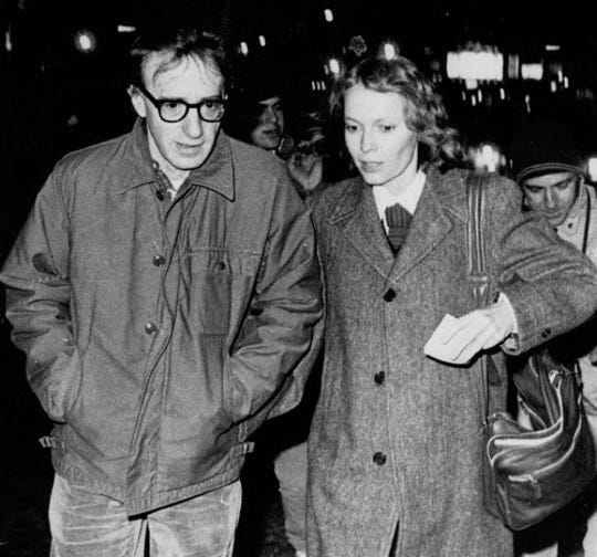 Woody Allen and actress Mia Farrow stroll up New York's 8th Avenue in January 1984. Eight years later, Allen and Soon-Yi Previn would embark on their affair.