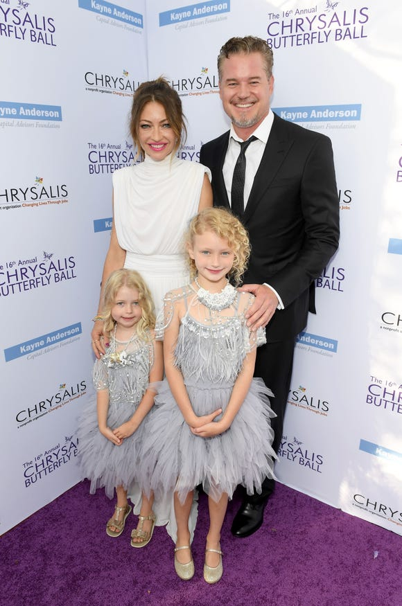 Rebecca Gayheart-Dane and Eric Dane with Georgia Dane and Billie Beatrice Dane at the 16th Annual Chrysalis Butterfly Ball on June 3, 2017.
