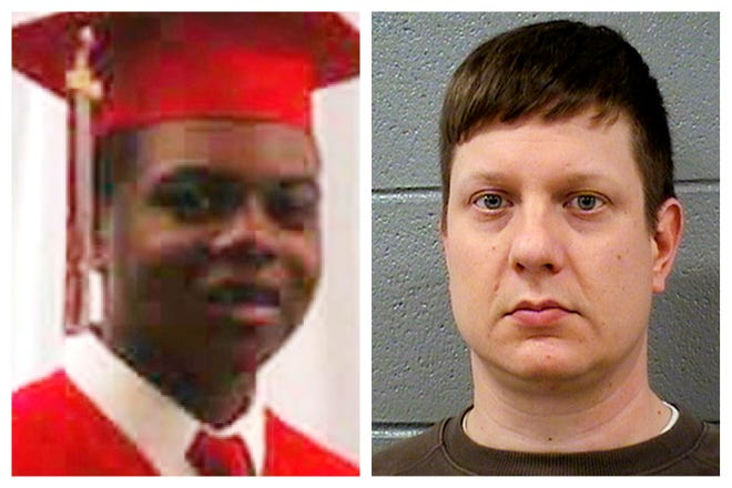 This combination of photos shows Laquan McDonald and former Chicago Police Officer Jason Van Dyke. On Monday, Sept. 17, 2018, Van Dyke is on trial facing murder charges in the shooting of the 17-year-old. The incident was captured in a dashcam video that led to protests and fueled racial tensions in the city.