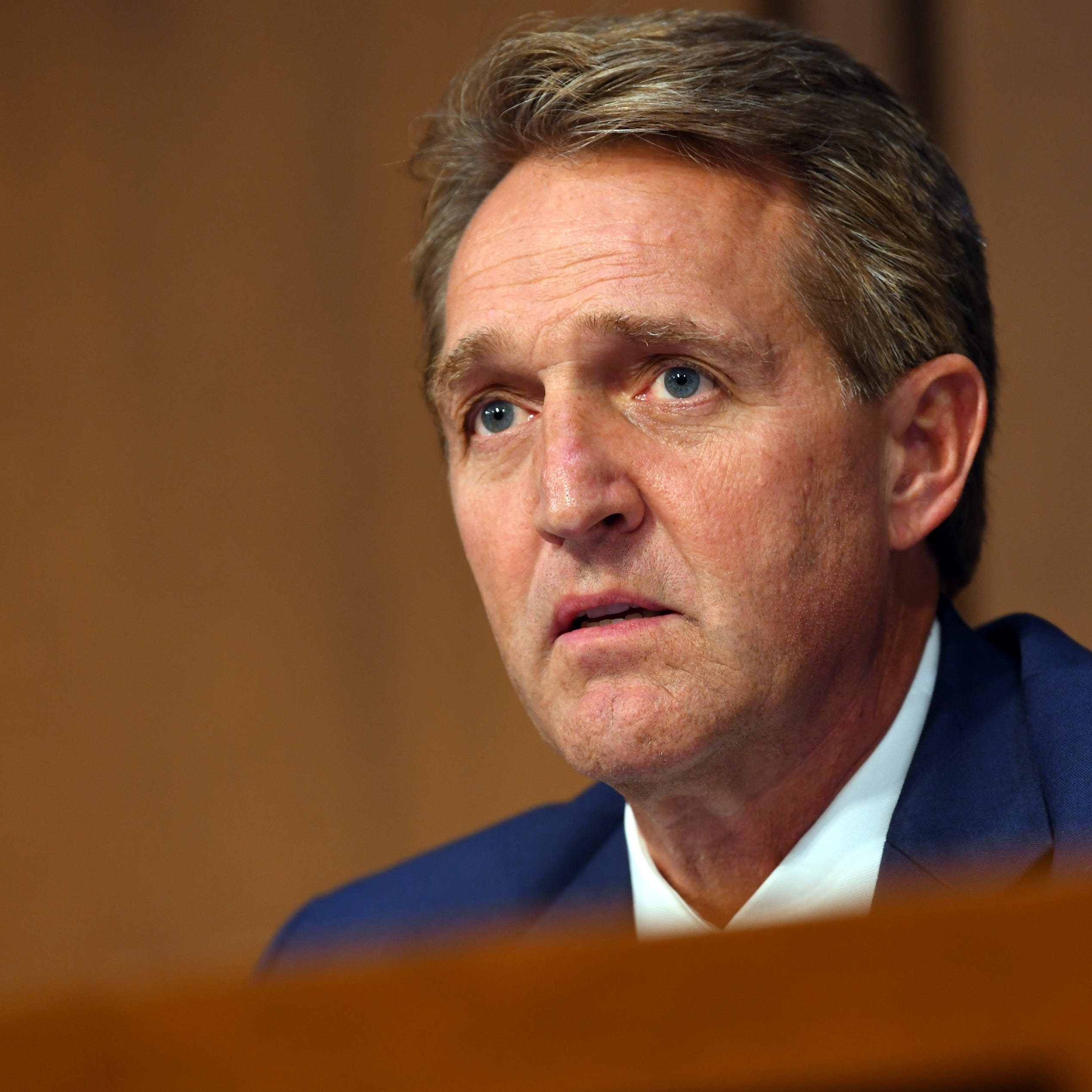 Sen. Jeff Flake, R-Ariz., listens during the hearing for Supreme Court Associate Justice Brett Kavanaugh in Washington on Sept. 4, 2018.