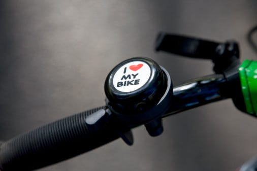 A bike bell on a bike handle