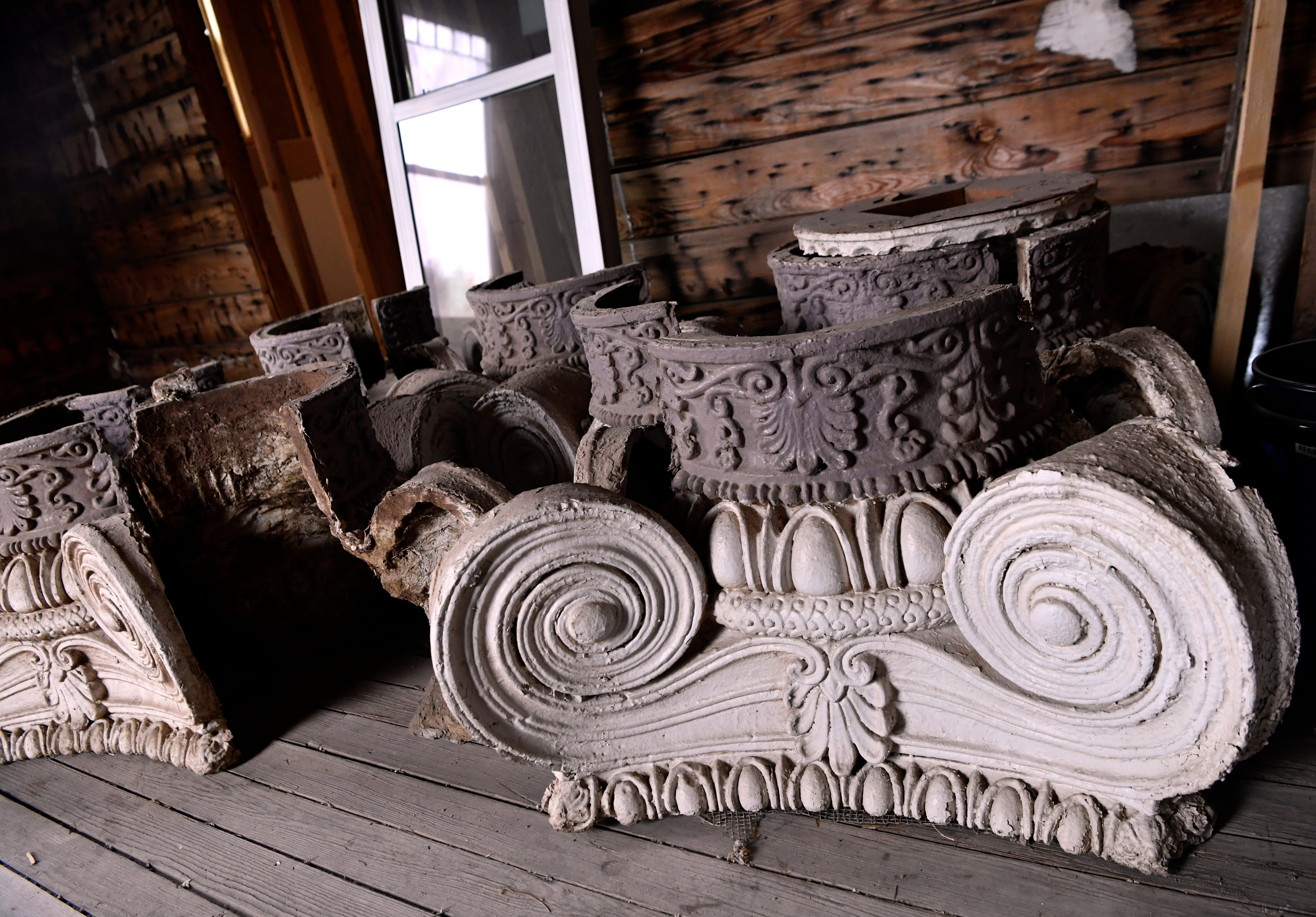 Column capitals are stored in a room in The Resilient, the new name given by the new owners. The 1903 home is currently under renovation and was known as Rosetyme.