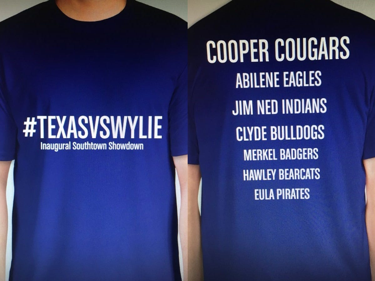 A T-shirt design from AHS Front Row Twitter account hypes several schools uniting behind Cooper against Wylie at their first football game on Thursday, Sept. 20, 2018.