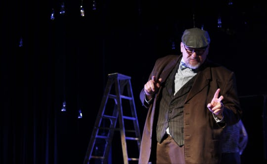 """Professor Willard (Keith Sproles) goes on and on ... and one some more about the history of Grover's Corners, New Hampshire, in this rehearsal scene from """"Our Town,"""" the Paramount Theatre's fall drama."""
