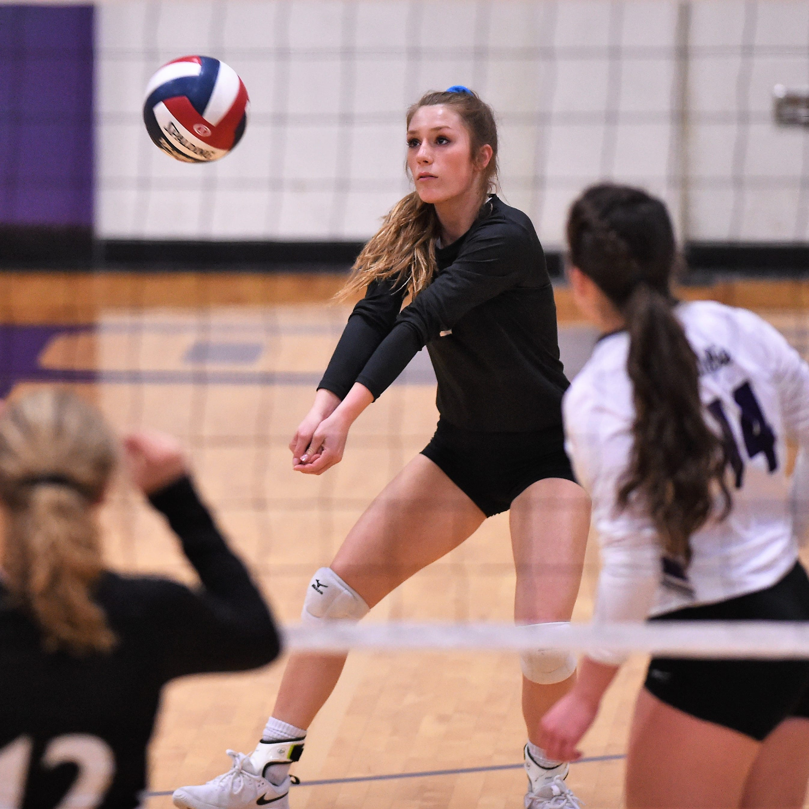 Wylie's Pierson Sanders reaches to return a serve during the Lady Bulldogs' match against Big Spring on Tuesday, Sept. 18, 2018.