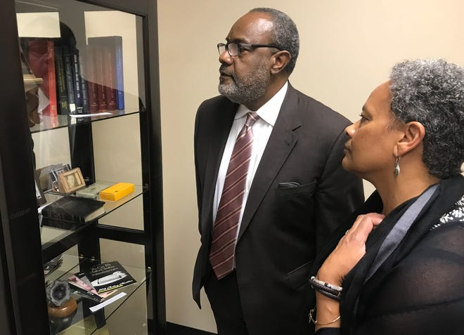Fernando and Donna Nasmyth of Atlanta, Georgia, examine artifacts on display at the new  Carl Spain Center on Race Studies & Spiritual Action, for which a ribbon-cutting was held Tuesday afternoon. The opening was part of 2018 Summit on the Abilene Christian University campus.