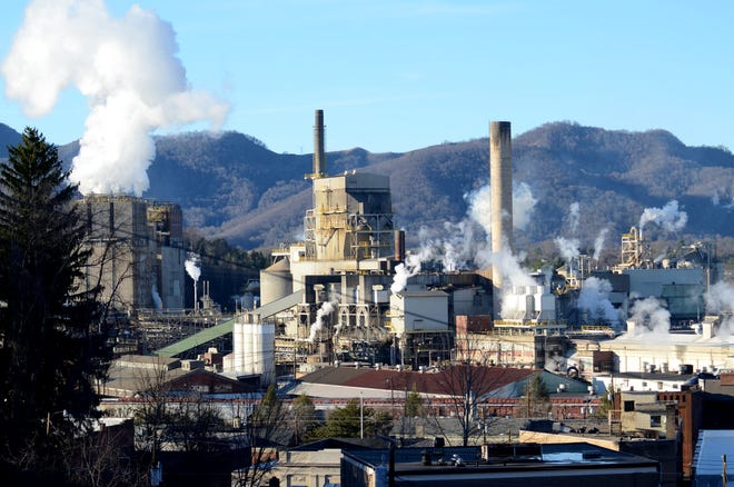 The Evergreen Packaging mill produces paper carton material at its Canton plant. The distinctive mill smell is detectable in Asheville on certain days.