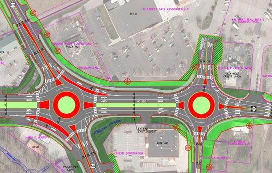 This state Department of Transportation map shows plans for two roundabouts at a busy entrance to Pisgah National Forest near Brevard. The one to the left will be at the U.S. 26/U.S. 276/N.C. 280 intersection. The one to the right will be at the intersection of N.C. 280, Deavor Road and Forest Gate Drive.