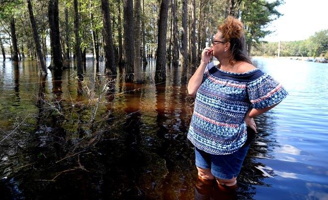 Wendy Rhodes walks down her flooded driveway to check on her home and horses in Hallsville, NC in Duplin County on Tuesday, Sept. 18, 2018.