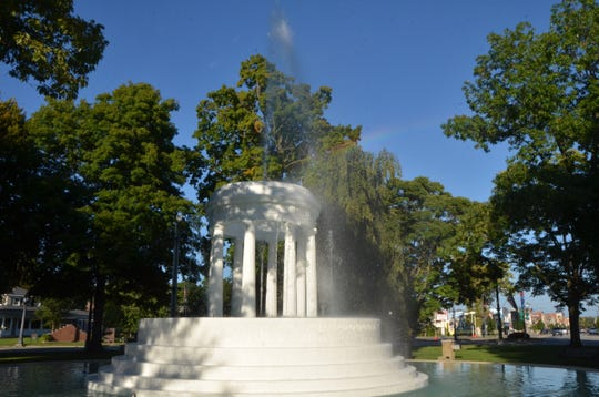 """Brooks Memorial Fountain in downtown Marshall. """"At the other end of Main Street there was a fountain that spurned a crystal yellow tree from within a circle of marble columns,"""" wrote John Bellairs in his book, """"The House with a Clock in Its Walls."""""""