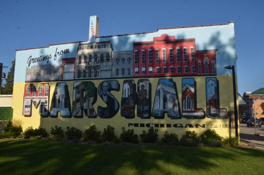 """""""Greetings from Marshall"""" mural in downtown Marshall."""
