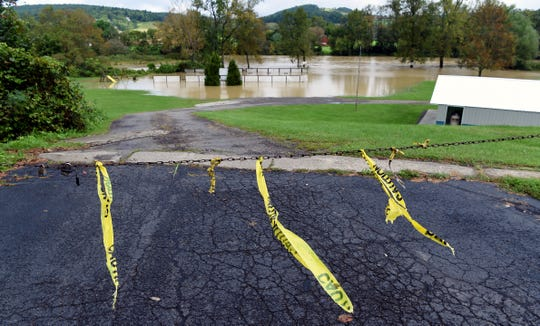 Catatonk Creek flooding in Candor. Heavy rains caused flash flooding throughout parts of the Southern Tier on Tuesday, September 18, 2018. In Tioga County, a State of Emergency was declared as flash flooding closed roads and damaged property.