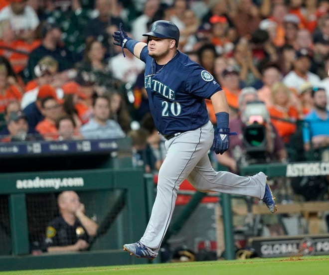 Daniel Vogelbach hit a grand slam during Monday's win over Houston. Vogelbach's future with the Mariners is uncertain.