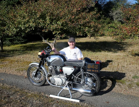Dan Schmalle of Poulsbo set a land speed record at the Bonneville Salt Flats by riding his 1962 Honda Superhawk motorcycle.