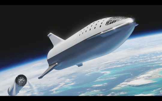 The newest designs for SpaceX's Big Falcon Rocket and Big Falcon Spaceship, which were unveiled at SpaceX's headquarters on Monday, Sept. 17, 2018.