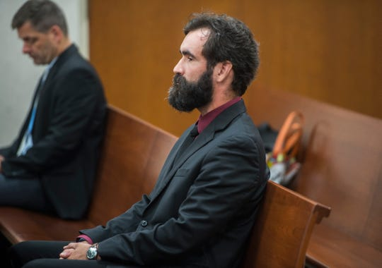 Rice Memorial High School teacher Brian Lynam appears in Vermont Superior Court in Burlington on Tuesday, Sept. 18, 2018, to answer charges that he upskirted additional females' private areas at the school.