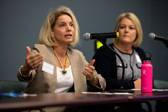 Catherine Susser, president of the CCISD board, answers a question as she takes part in a discussion panel with other educators during a Human Trafficking Summit put on by State Representative Todd Hunter and Del Mar College at the Del Mar Center for Economic Development on Tuesday, Sept. 18, 2018