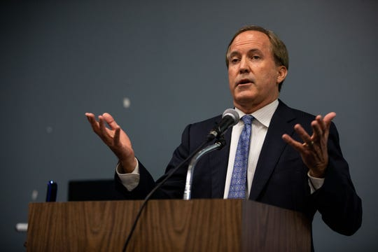 Texas Attorney General Ken Paxton speaks during a Human Trafficking Summit put on by State Representative Todd Hunter and Del Mar College at the Del Mar Center for Economic Development on Tuesday, Sept. 18, 2018