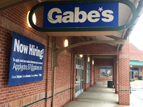 Signs announce the pending arrival of Gabe's, a West Virginia-based discounter, at East Gate Square in Mount Laurel.