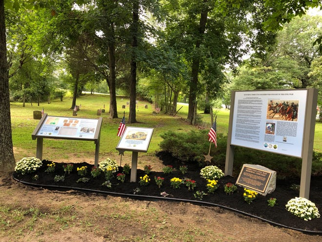 Three of four new signs explain the history of the cemetery of Buffalo Soldiers in historic Timbuctoo in Westampton, which celebrates Timbuctoo Day from noon to 3 p.m. Saturday on Church Street.