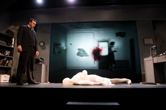 Actor Tim Rinehart plays multiple roles both on stage and onscreen in 'NOIR: The 3D/4D SemiCinematic Satirical Thriller' at the Eagle Theatre in Hammonton.