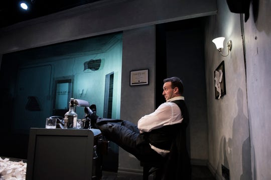 Actor Tim Rinehart, who also co-wrote the production, stars in 'NOIR: The 3D/4D SemiCinematic Satirical Thriller' at the Eagle Theatre in Hammonton. The show finds Rinehart kissing himself onscreen.