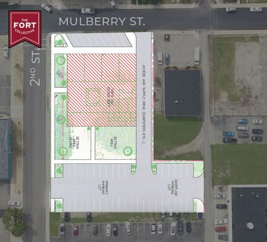 This image shows the expected footprint of The Fort Collective project at the corner of Mulberry and 2nd streets.