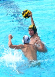 Sycamore's Max Deihl powers a shot towards the goal for the Aviators at the 2nd Annual Sunlite Shootout Water Polo Tournament held at Coney Island's Sunlite Pool, Sept. 15 & 16, 2018.