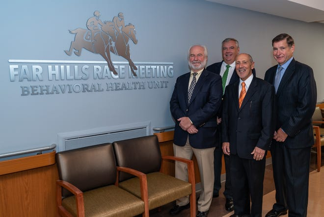 The Far Hills Race Meeting Association has donated $500,000 for the expansion of behavioral health facilities at Robert Wood Johnson University Hospital Somerset. Pictured here are Guy Torsilieri and Ron Kennedy, chairmen, Far Hills Race Meeting Association; Tony Cava, president, Robert Wood Johnson University Hospital Somerset; and Paul Hubert, chairman, Somerset Health Care Foundation.