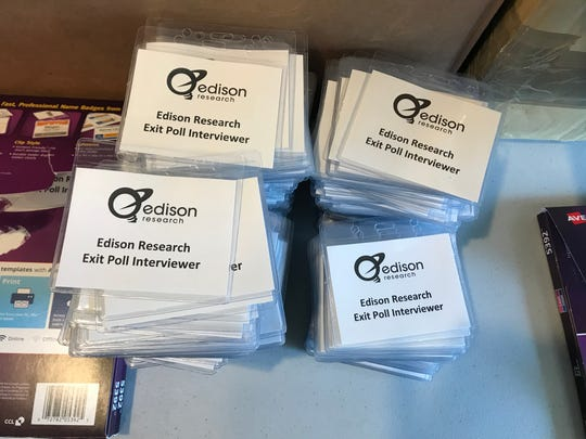 Edison Research exit poll interviewer badges.