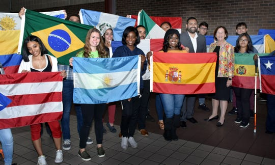 Union County Freeholder Chairman Sergio Granados joined Union County College President Dr. Margaret McMenamin and students at the opening of the college's Hispanic Heritage Month and Hispanic Serving Institution Week Celebration at the Union County College Cranford campus.